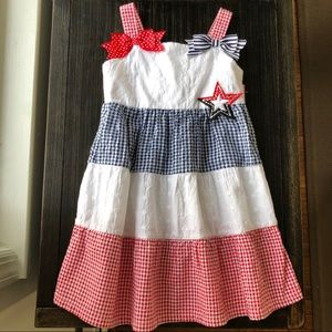 Gingham red white and navy toddler dress 4T